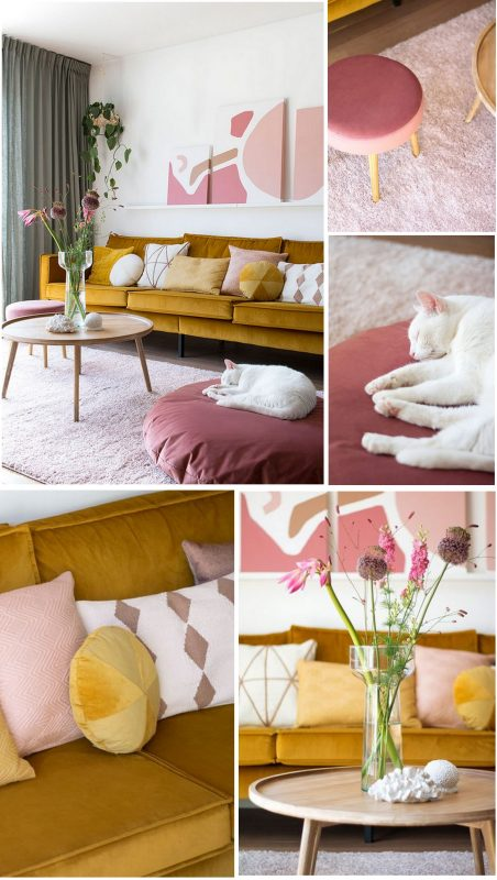 The colors pink and mustard yellow combined