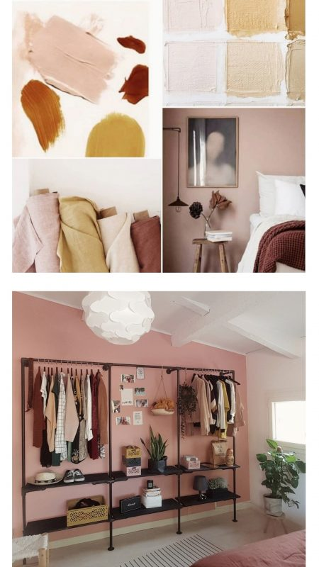 Color moodboard and pink wall of the bedroom