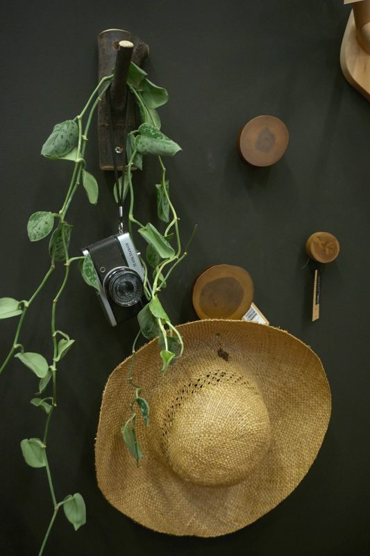 Creatig a home styling with a beachy and holiday feeling. Using a straw hat, an old photo camera and a plant to style interior design